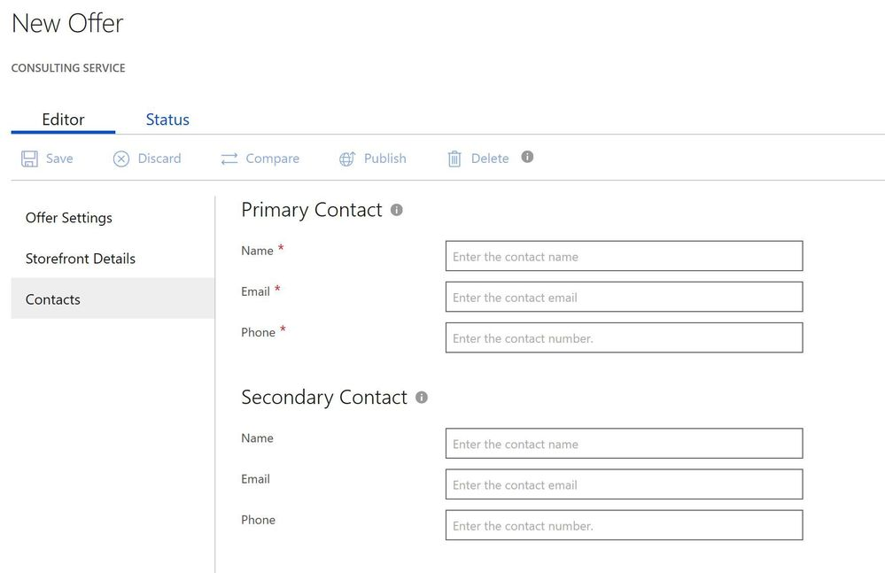 where to find contact information per offer for consulting service offers