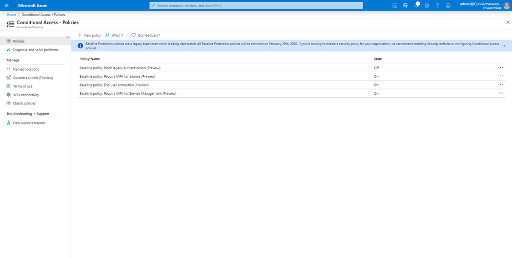Baseline Conditional Access Policy Notice