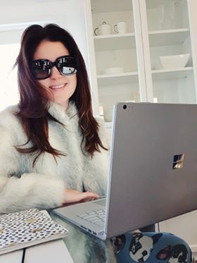 Bringing the Vegas to me! shades + Faux Fur + pajamas add some Inspire Keynotes and It's like I am really there....